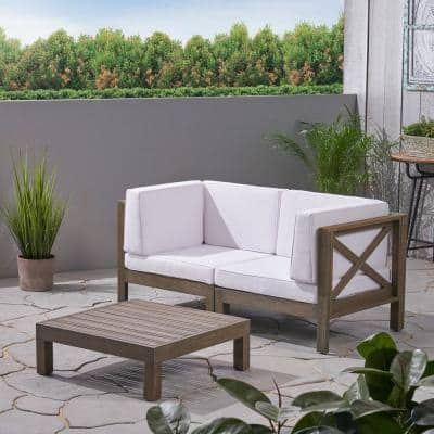 Brava Grey 3-Piece Acacia Wood Patio Conversation Set with White Cushions