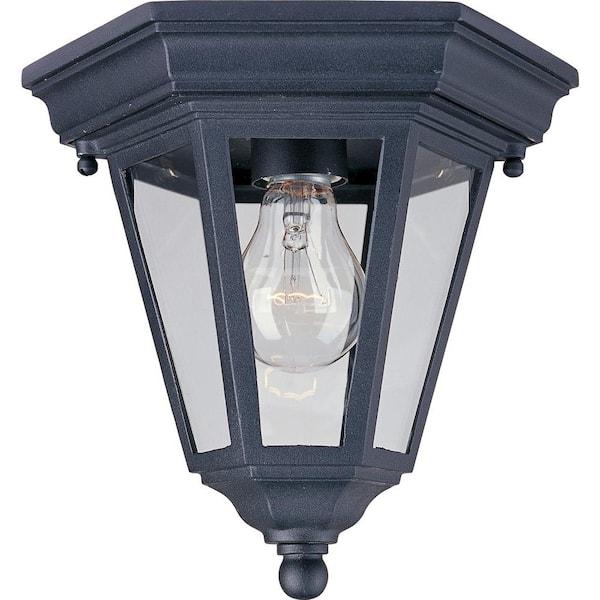 Maxim Lighting Westlake 1 Light Black Outdoor Flushmount 1027bk The Home Depot