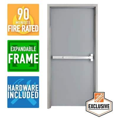 36 in. x 80 in. Left-Hand Galvanneal Steel Mill Primed Commercial Door Kit with 90 Minute Fire Rating & Adjustable Frame