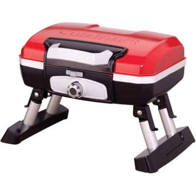 Petit Gourmet Portable Tabletop Outdoor Propane Gas Grill in Red and Black