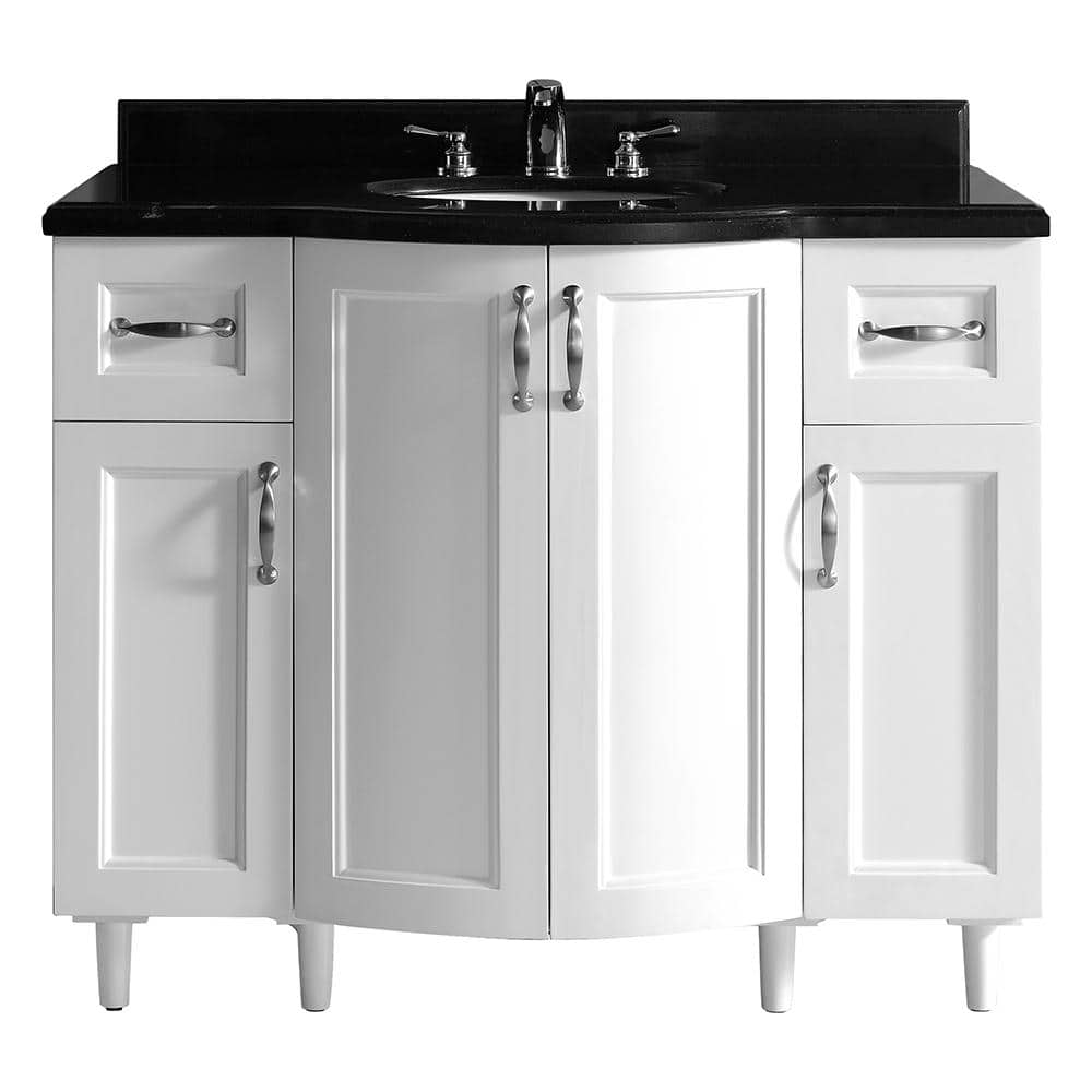 Home Decorators Collection Gigi 42 In Vanity In White With Granite Vanity Top In Black Bf90219 The Home Depot