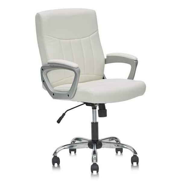 Eazeechairs White Leather Ergonomic, White Leather Computer Chairs