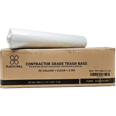61 in. W x 68 in. H. 95 Gal. 3 mil Clear Contractor Bags (25-Count)