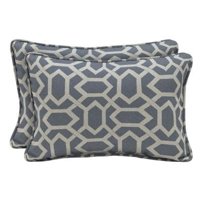 CushionGuard Midnight Hex Lumbar Outdoor Throw Pillow (2-Pack)