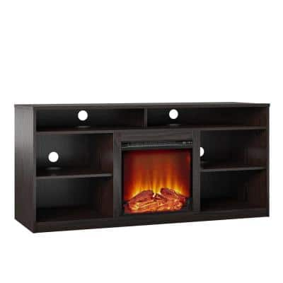 65 in. Mountain Bay Fireplace TV Stand for TVs in Espresso