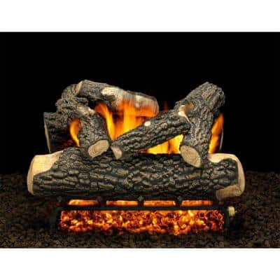 Tahoe Blaze 18 in. Vented Natural Gas Fireplace Logs, Complete Set with Manual Safety Pilot Kit