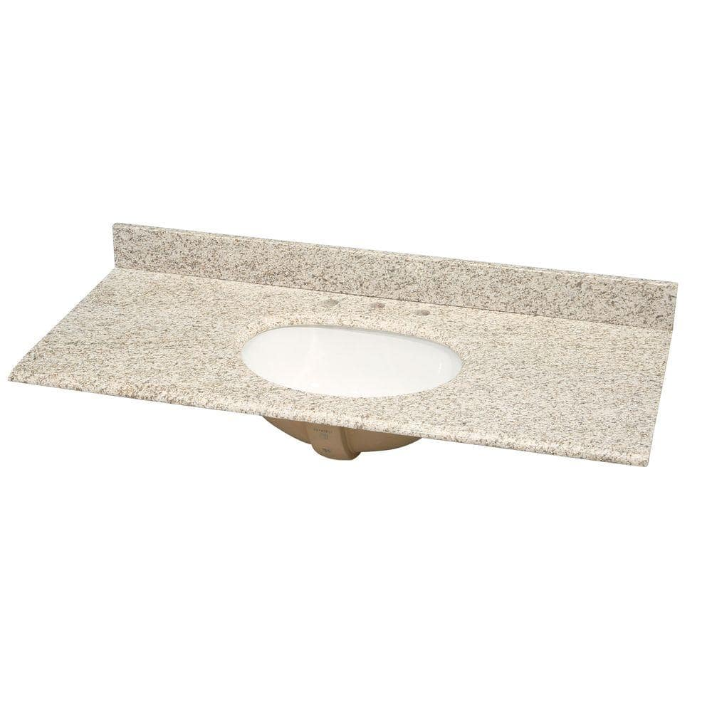 Pegasus 49 In W Granite Vanity Top In Golden Hill With White Bowl And 8 In Faucet Spread 49992 The Home Depot