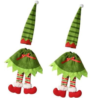 12 in. Wine Bottle Elf Costume Cover (Set of 2)
