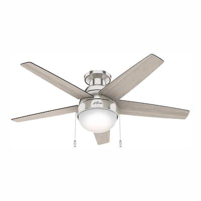 Parmer 46 in. LED Indoor Brushed Nickel Flush Mount Ceiling Fan