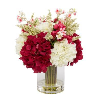 18 in. L x 17 in. H White and Fuchsia Hydrangea in a Crystal Vase with Begonias, White heather and Cherry Blossoms