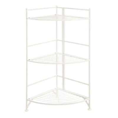 Xtra Storage 32.25 in. White Metal 3-Shelf Accent Bookcase with Folding Sides