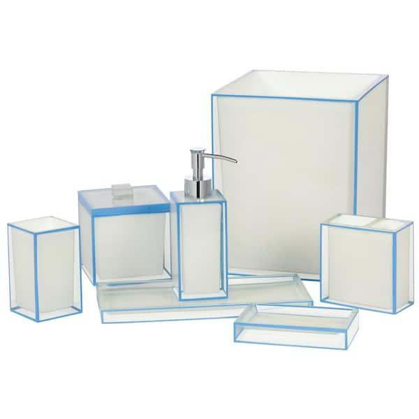 Creative Bath Nantucket 7 Piece, Blue And White Bathroom Accessories