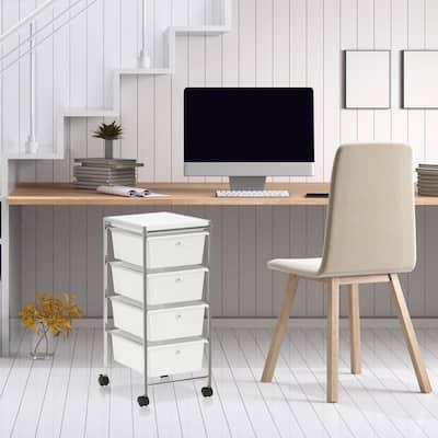 Wayar 4-Shelf Chrome 4-Wheeled 4-Drawer Storage Cart in White