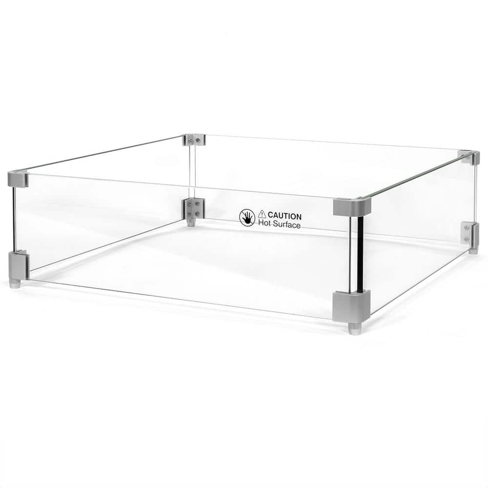 Barton 20 In X 20 In Tempered Glass Screen Flame Wind Guard For Square Fire Pit Table Heater 95171 H The Home Depot