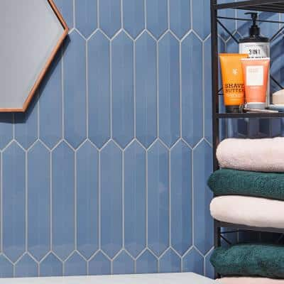hexagon blue tile flooring the