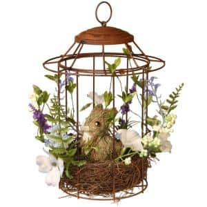 12 in. Easter Bird cage with Rabbit