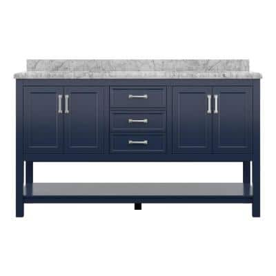Everett 61 in. W x 22 in. D Vanity Cabinet in Aegean Blue with Carrara Marble Vanity Top in White with White Basins