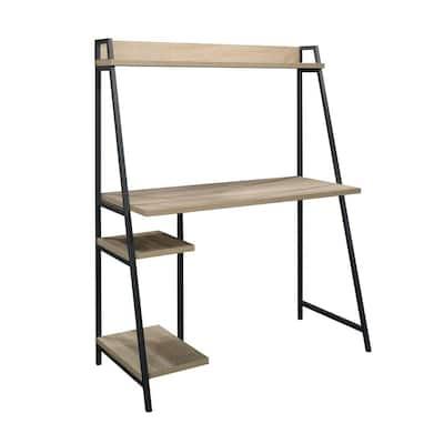 43 in. Rectangular Charter Oak Ladder Desk with Hutch