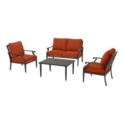 Braxton Park 4-Piece Black Steel Outdoor Patio Conversation Deep Seating Set with CushionGuard Quarry Red Cushions