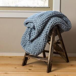 Blue Acrylic Chunky Knitted Throw