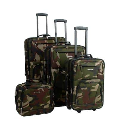 Rockland Sydney Collection Expandable 4-Piece Softside Luggage Set, Camo