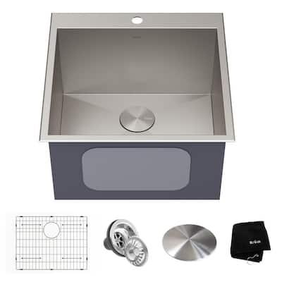 Standart PRO 22 in. Dual Mount Drop-In 16-Gauge Stainless Steel Single Bowl Deep Laundry Utility Sink