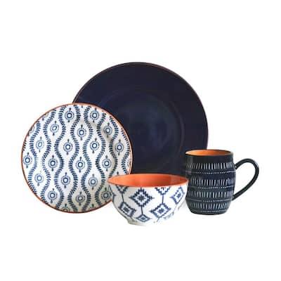 Tangiers 16-Piece Blue Dinnerware Set