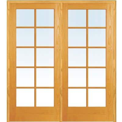 48 in. x 80 in. Right Hand Active Unfinished Pine Glass 10-Lite Clear True Divided Prehung Interior French Door