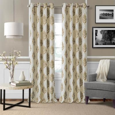 Natural Medallion Blackout Curtain - 52 in. W x 84 in. L