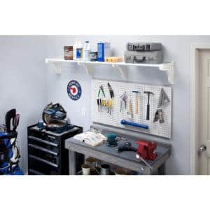 40 in. - 75 in. Metal Expandable Garage Shelf in White with 2 End Brackets