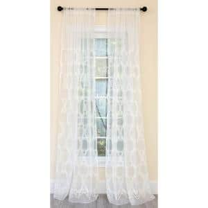 White Damask Embroidered Rod Pocket Sheer Curtain - 54 in. W x 96 in. L (1-Piece)