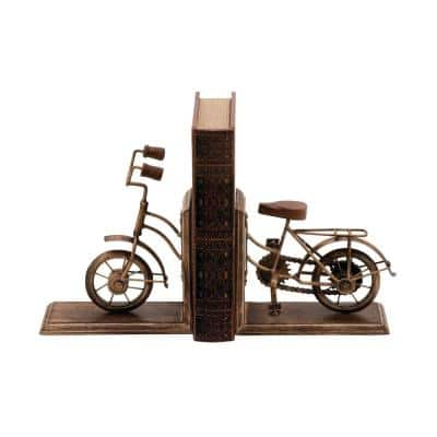 7 in. x 9 in. Gold Brass Vintage Bicycle L-shaped Bookends
