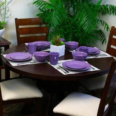 16-Piece Traditional Lilac Stoneware Dinnerware Set (Service for 4)