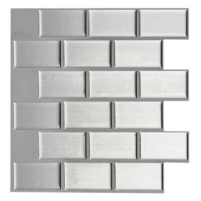 12 in. x 12 in x 0.06 in. Peel and Stick Vinyl Kitchen Backsplash Tile in Sliver (6-Piece/Case)