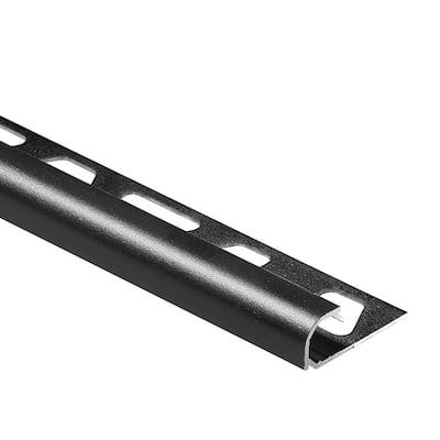 Rondec Matte Black 1/2 in. x 8 ft. 2-1/2 in. Color-Coated Aluminum Bullnose Tile Edging Trim