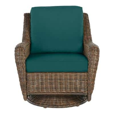 Cambridge Brown Wicker Outdoor Patio Swivel Rocking Chair with CushionGuard Malachite Green Cushions