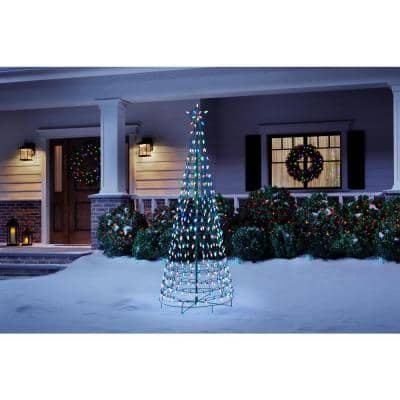 6 ft LED Pre-Lit Cone Tree with Star and 300 Multi Color Lights