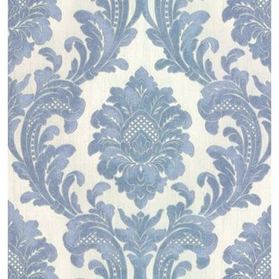 Milano Light Blue Damask Wallpaper Sample