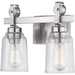 Knollwood 2-Light Brushed Nickel Vanity Light with Clear Glass Shades