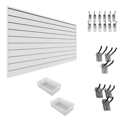 PVC Slatwall 8 ft. x 4 ft. White Gardener Bundle (20-Piece)