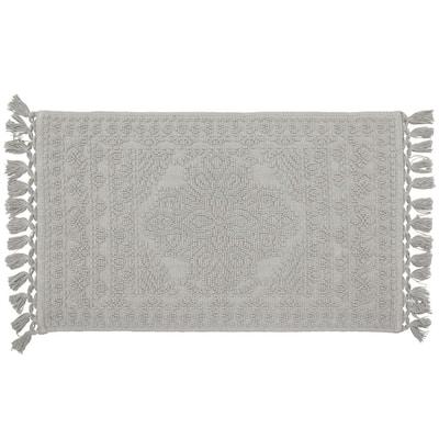 Nellore Medium Gray 20 x 34 in. Fringe Cotton Bath Rug