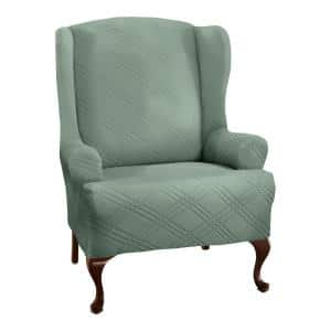 Double Diamond Sage Wing Chair Slipcover
