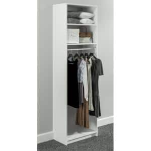 Simplyneu 14 In D X 25 375 In W X 84 In H White Double Hanging Tower Wood Closet System Kit Snt1 Wh The Home Depot