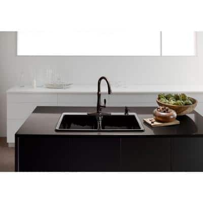 Deerfield Drop-In Cast Iron 33 in. 4-Hole Double Bowl Kitchen Sink in Black