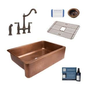 Lange All-in-One Farmhouse Copper Sink 32 in. Single Bowl Kitchen Sink with Pfister Bridge Faucet and Strainer