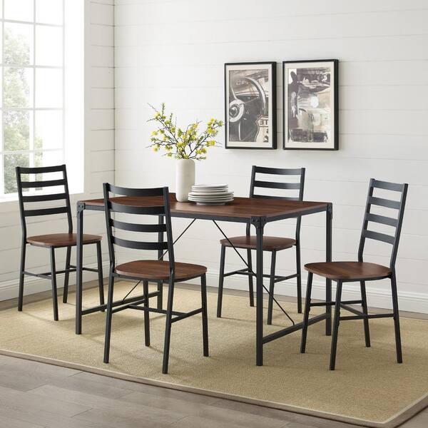 Welwick Designs 5 Piece Dark Walnut, Wood And Iron Dining Room Set