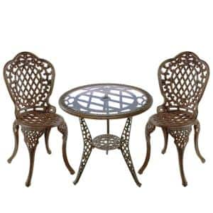 Mississippi Antique Bronze 3-Piece Aluminum Outdoor Bistro Set
