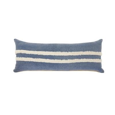 Double Blue / White Center Striped Tufted Poly Fill 14 in. x 36 in. Lumbar Throw Pillow