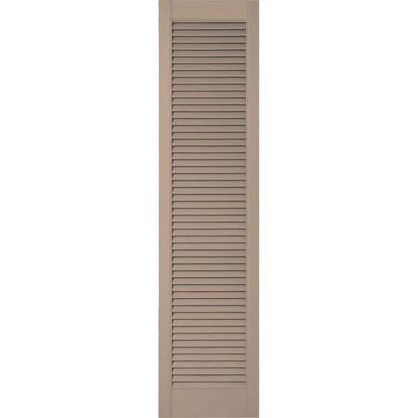 Ekena Millwork 18 In X 60 In Lifetime Vinyl Custom Straight Top All Open Louvered Shutters Pair Wicker Ll6c18x06000wi The Home Depot