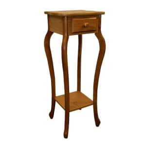 32.5 in. Oak Square Wood Indoor Plant Stand